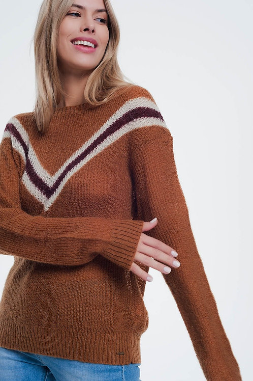 Camel Sweater With Striped Detail