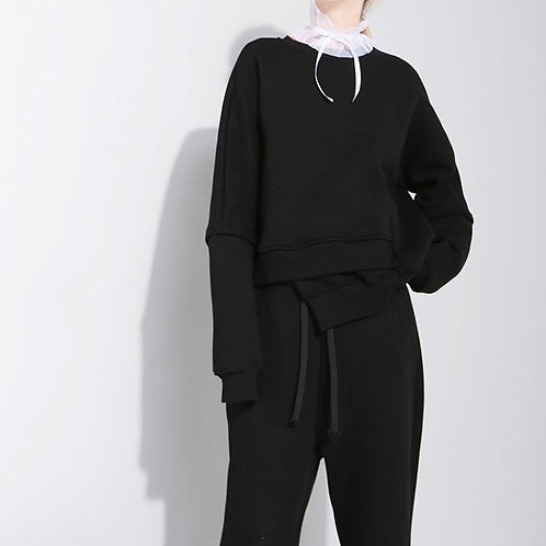 Althea Irregular Pocket Sweatshirt - Black