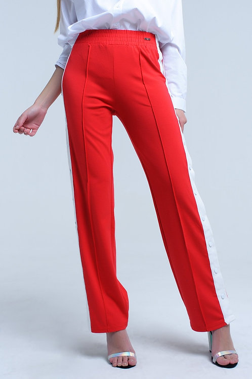 Red Pants With Side Openings and Hooks