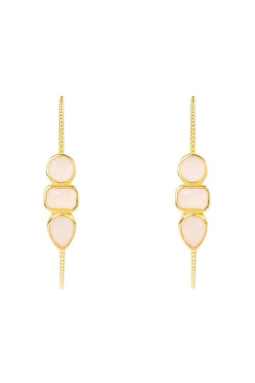 Venice Gemstone Hoop Earring Gold Rose Quartz
