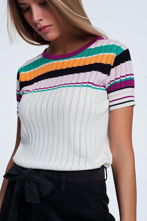 Knitted Crop Top in Orange Stripe