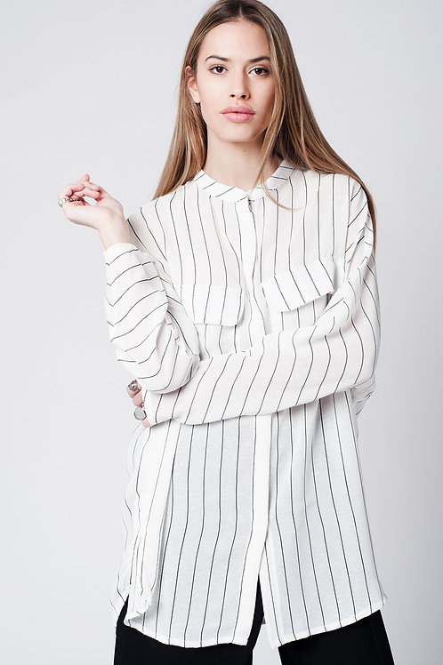White Stripe Long Shirt