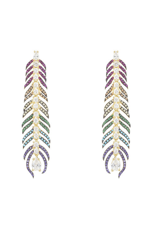 Peacock Feather Rainbow Elongated Drop Earrings Gold