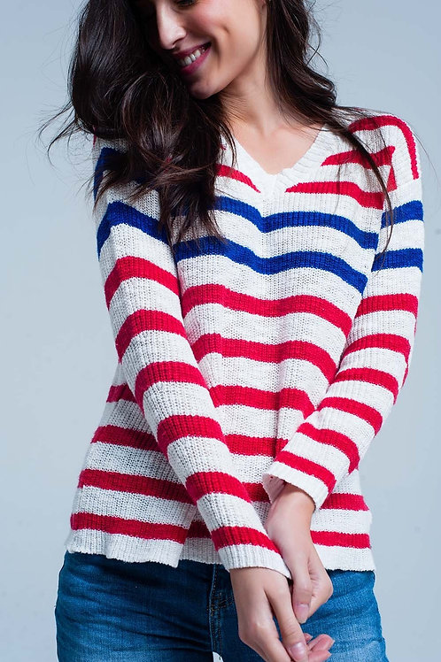 Red Striped V-Neck Sweater