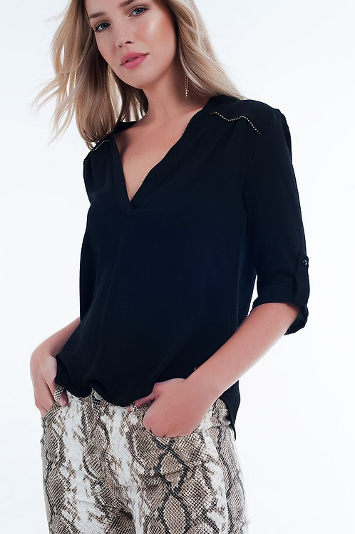 Blouse With Embellished Detail in Black