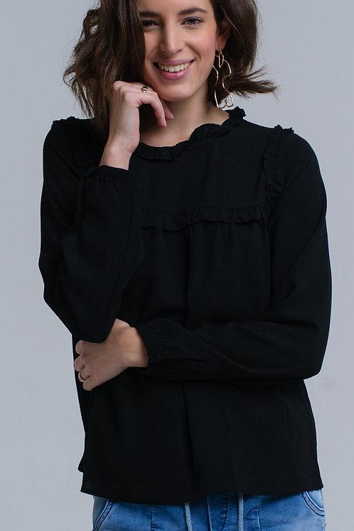 Black Shirt With Ruffle Detail