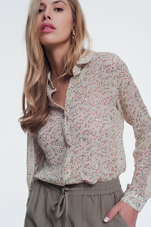 Chiffon Blouse in Beige With Floral Print