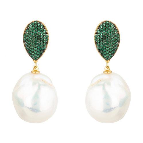 Baroque Pearl Classic Drop Earrings Emerald Green
