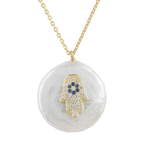 Hamsa Pearl Pendant Necklace Gold