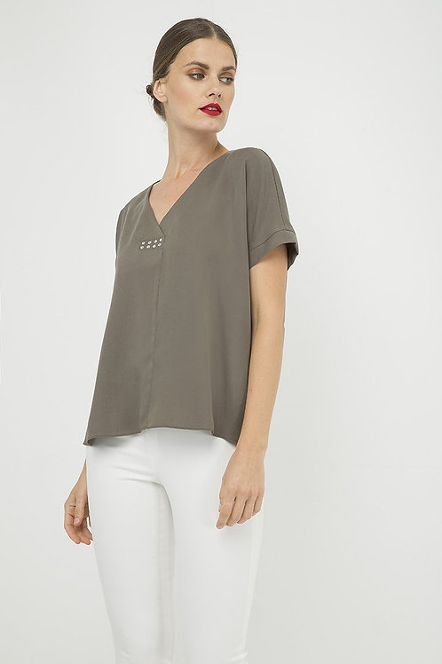 Khaki v Neck Top With Metallic Motif