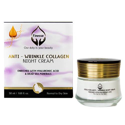 Dead Sea Anti - Wrinkle Collagen Night Cream - Enriched With Hyaluronic Acid