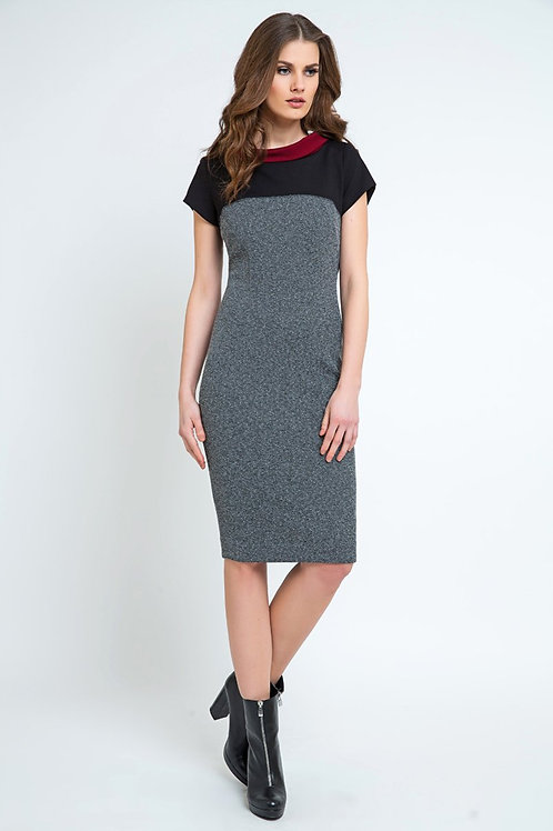 Straight Short Sleeve Dress With Stand Up Collar