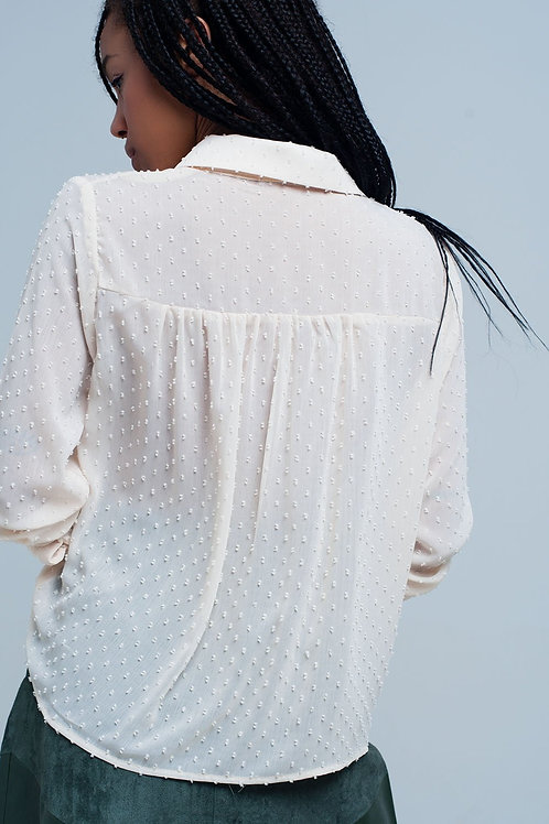 Cream Blouse With Ruffles