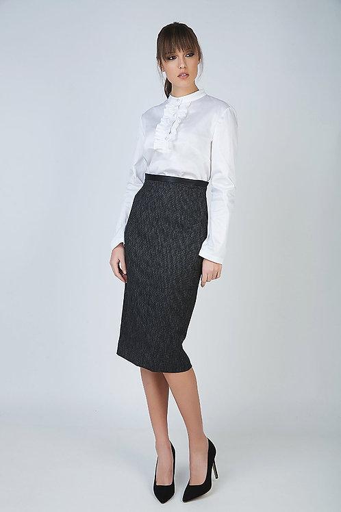 Pencil Skirt With Pleather Waistband