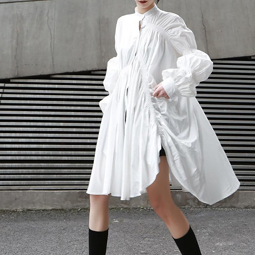 Hotaru Long Sleeve Pleated Shirt Dress - White