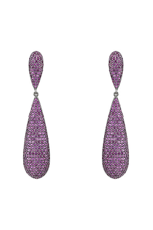 Coco Long Drop Earrings Oxidised Silver Ruby Pink CZ