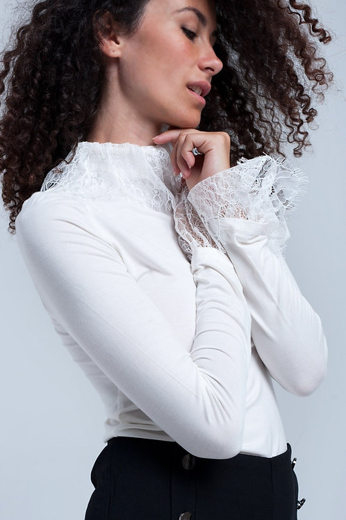 Cream Shirt With Lace Detailing