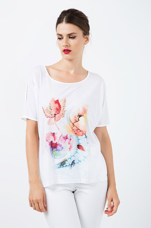 White Jersey Top With Multicoloured Print