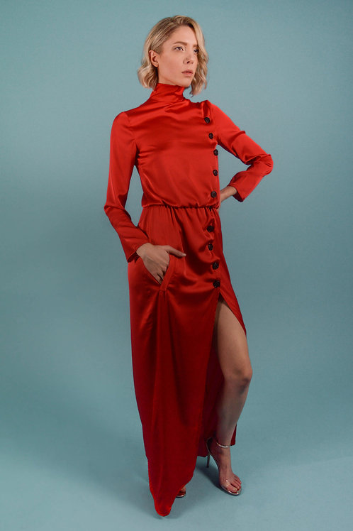 Red Turtleneck Maxi Dress