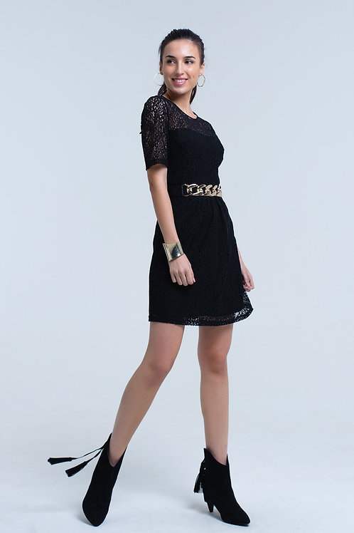 Black Lace Short Sleeve Dress
