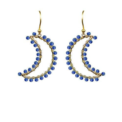 Lapis Lazuli Crescent Moon Earrings