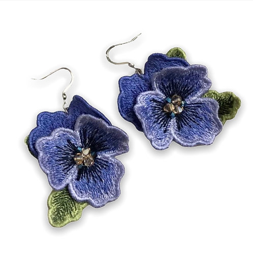 Embroidered violets earrings
