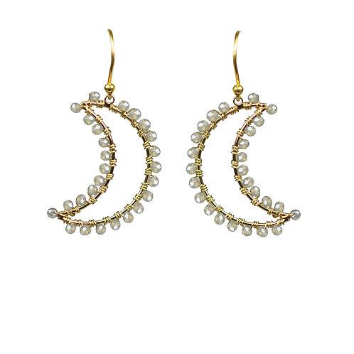 Labradorite Crescent Moon Earrings