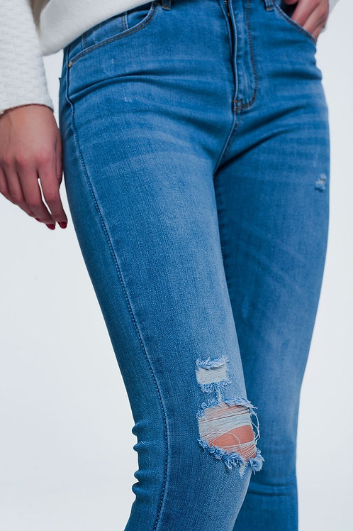 Light Denim Jeans With Wear Detail and Slight Ripped Knee