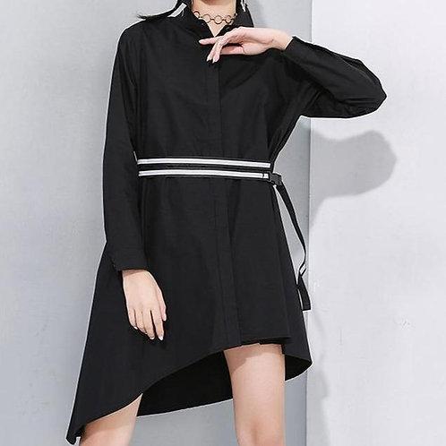 Someina Asymmetrical Long Sleeve Shirt Dress - Black