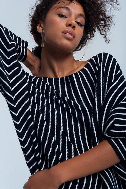Black Striped Boat Neck Sweater