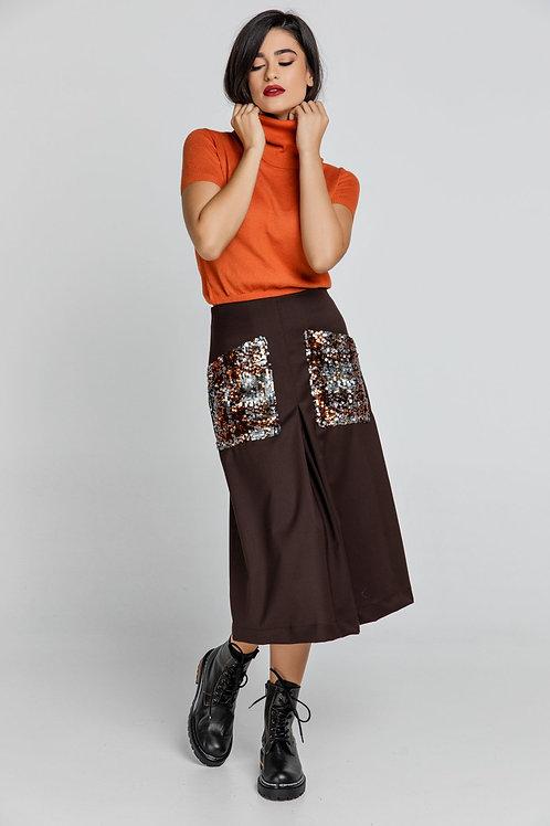 Brown a Line Midi Skirt