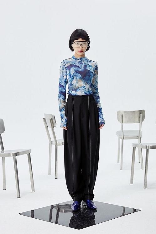 Setsuko Pleated Long Wide Leg Pants - Black