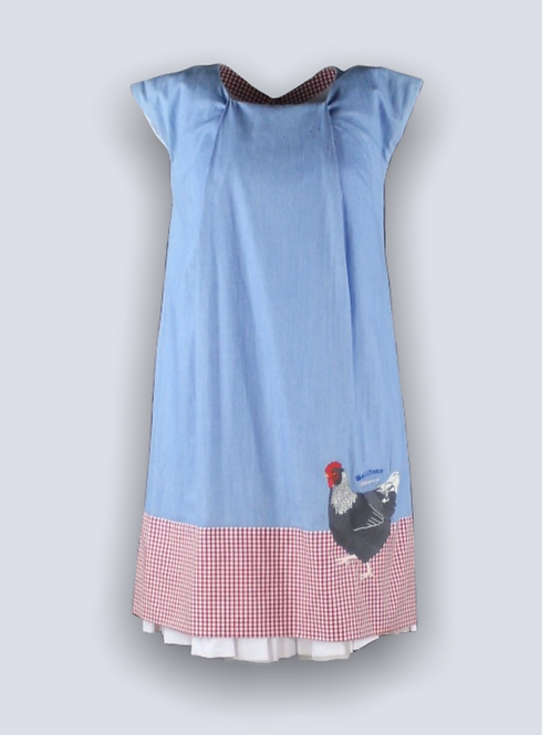Short denim dress with embroidery