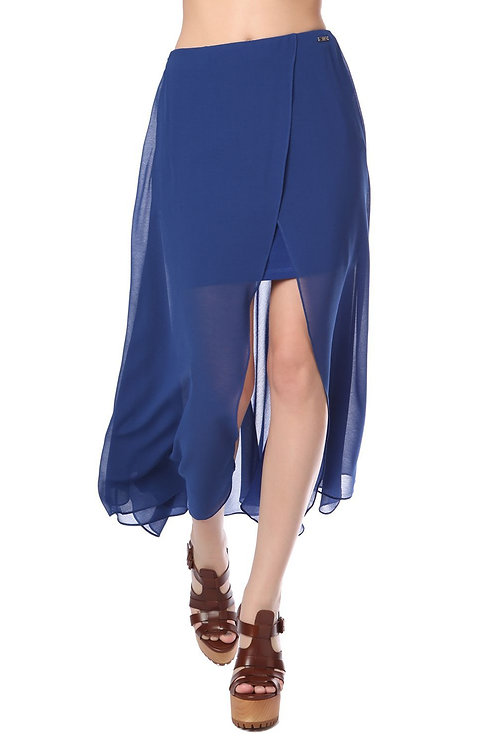 Blue Wrap Maxi Skirt in Chiffon