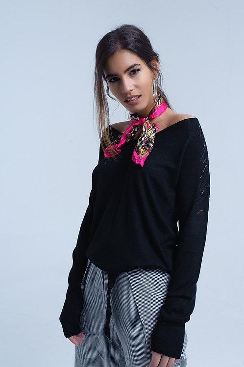 Black Sweater in Lightweight Knit Fabric