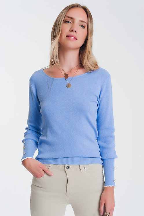 Crew Neck Sweater With Button Detail in Blue