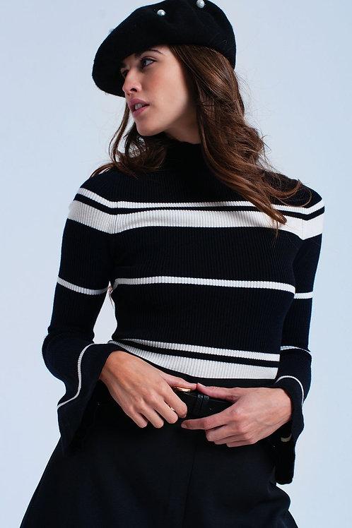 Cream Striped Black Sweater