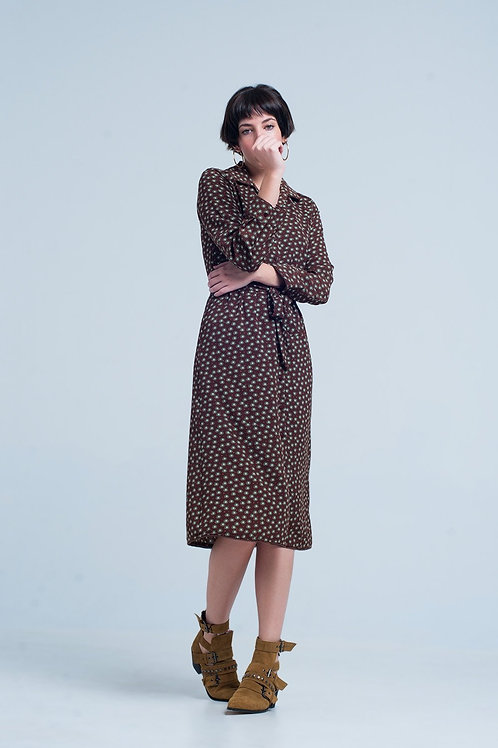 Brown Midi Printed Dress With Belt and Buttons