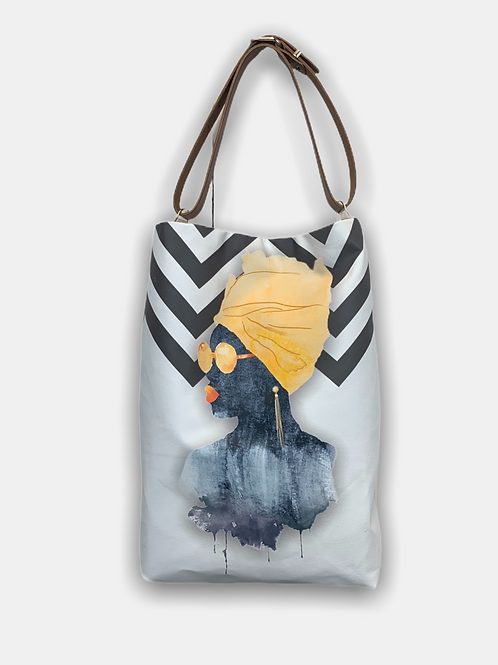 Fashion Solvent Ink Print Tote Bag 100% Cotton with Leather Handles