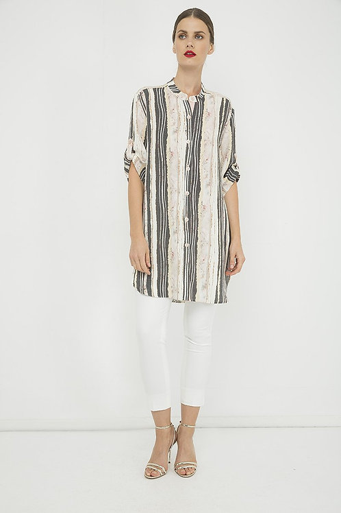 Long Summer Shirt in Print Striped Fabric
