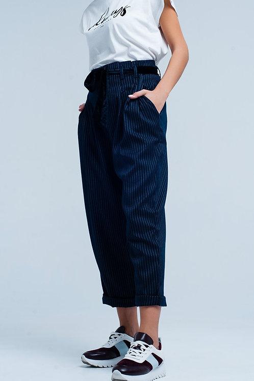 Dark Grey High Waisted Striped Pants