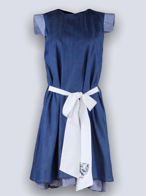 Denim dress with embroidered belt