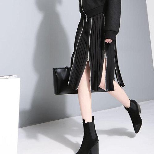Ariana Zipper Split Empire Hem Skirt