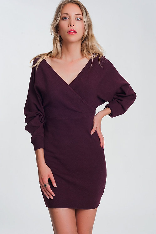 V Neck Knitted Maroon Dress With Volume Sleeve