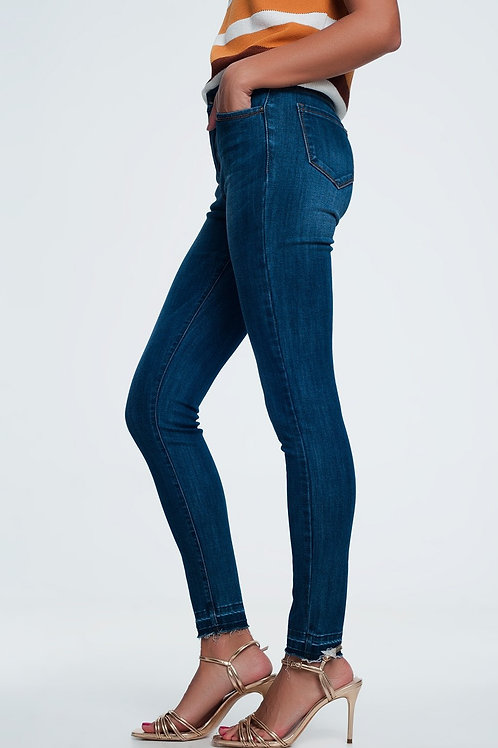 High Waisted Skinny Jeans in Extreme Dark Stonewash Blue