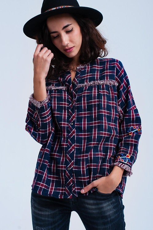 Red Checked Embroidered Shirt