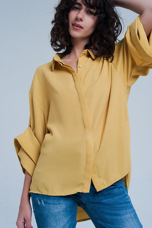 Yellow Oversized Shirt With Lurex Details