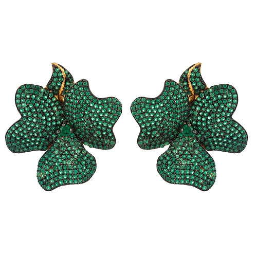 Flower Large Stud Earrings Gold Emerald Green