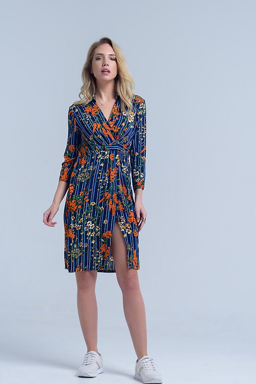 Navy Floral Split Side Midi Dress