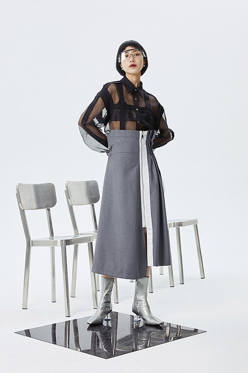 Kokone Pleated Asymmetrical Skirt - Gray